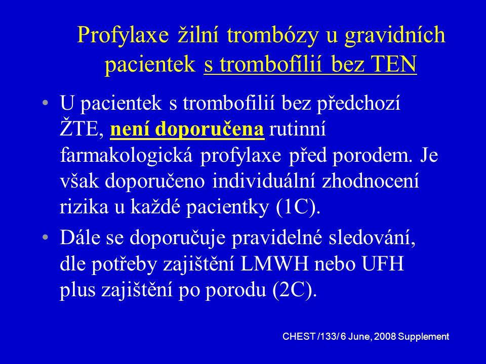Profylaxe žilní trombózy u gravidních pacientek s trombofílií bez TEN U pacientek s trombofilií bez předchozí ŽTE, není doporučena rutinní farmakologická profylaxe před porodem.