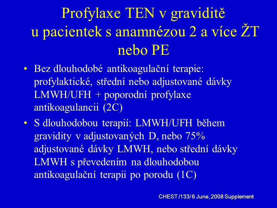 Profylaxe TEN v graviditě u pacientek s anamnézou 2 a více ŽT nebo PE Bez dlouhodobé antikoagulační terapie: profylaktické, střední nebo adjustované dávky LMWH/UFH + poporodní profylaxe antikoagulancii (2C) S dlouhodobou terapií: LMWH/UFH během gravidity v adjustovaných D, nebo 75% adjustované dávky LMWH, nebo střední dávky LMWH s převedením na dlouhodobou antikoagulační terapii po porodu (1C) CHEST /133/ 6 June, 2008 Supplement