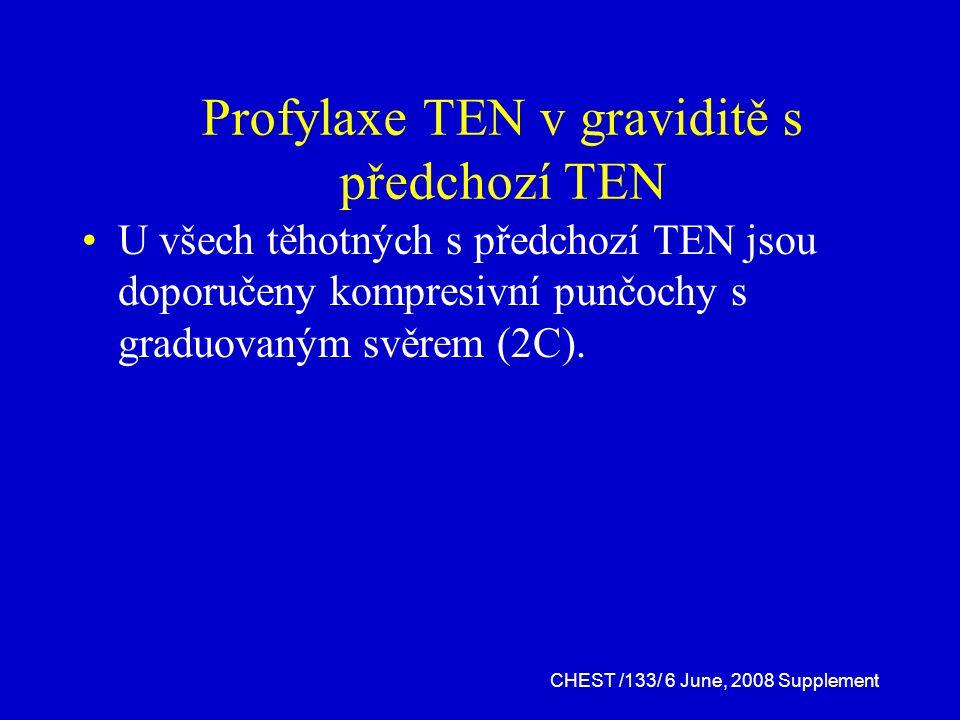 Profylaxe TEN v graviditě s předchozí TEN U všech těhotných s předchozí TEN jsou doporučeny kompresivní punčochy s graduovaným svěrem (2C).