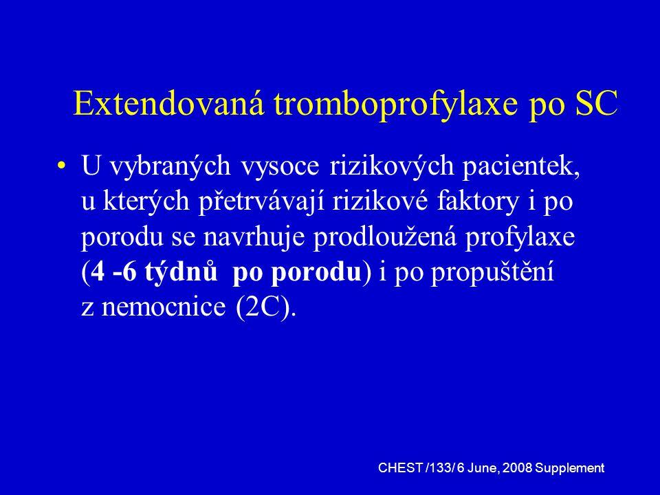 Extendovaná tromboprofylaxe po SC U vybraných vysoce rizikových pacientek, u kterých přetrvávají rizikové faktory i po porodu se navrhuje prodloužená profylaxe (4 -6 týdnů po porodu) i po propuštění z nemocnice (2C).