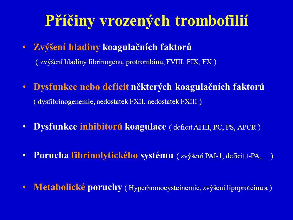 Příčiny vrozených trombofilií Zvýšení hladiny koagulačních faktorů ( zvýšení hladiny fibrinogenu, protrombinu, FVIII, FIX, FX ) Dysfunkce nebo deficit některých koagulačních faktorů ( dysfibrinogenemie, nedostatek FXII, nedostatek FXIII ) Dysfunkce inhibitorů koagulace ( deficit ATIII, PC, PS, APCR ) Porucha fibrinolytického systému ( zvýšení PAI-1, deficit t-PA,… ) Metabolické poruchy ( Hyperhomocysteinemie, zvýšení lipoproteinu a )