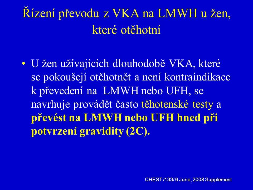 Řízení převodu z VKA na LMWH u žen, které otěhotní U žen užívajících dlouhodobě VKA, které se pokoušejí otěhotnět a není kontraindikace k převedení na LMWH nebo UFH, se navrhuje provádět často těhotenské testy a převést na LMWH nebo UFH hned při potvrzení gravidity (2C).