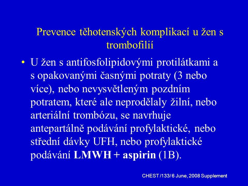 Prevence těhotenských komplikací u žen s trombofilií U žen s antifosfolipidovými protilátkami a s opakovanými časnými potraty (3 nebo více), nebo nevysvětleným pozdním potratem, které ale neprodělaly žilní, nebo arteriální trombózu, se navrhuje antepartálně podávání profylaktické, nebo střední dávky UFH, nebo profylaktické podávání LMWH + aspirin (1B).