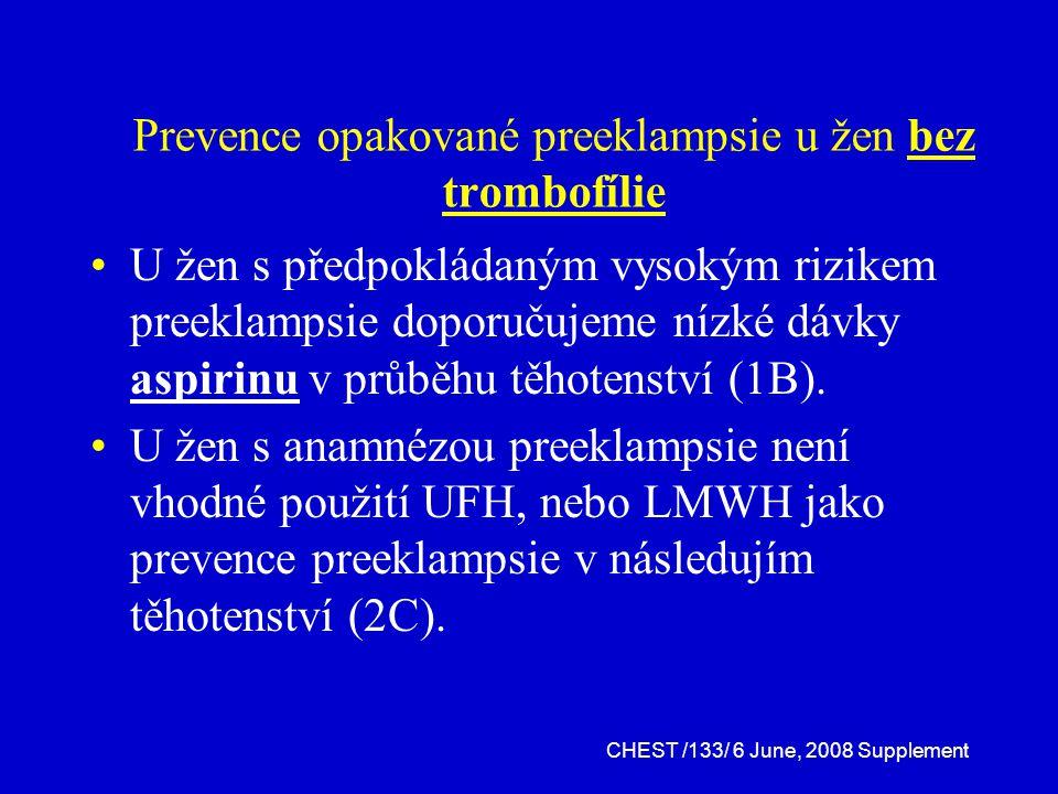 Prevence opakované preeklampsie u žen bez trombofílie U žen s předpokládaným vysokým rizikem preeklampsie doporučujeme nízké dávky aspirinu v průběhu těhotenství (1B).