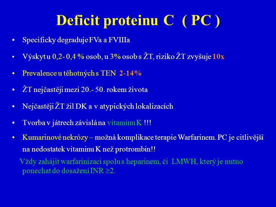 Deficit proteinu C ( PC ) Specificky degraduje FVa a FVIIIa Výskyt u 0,2- 0,4 % osob, u 3% osob s ŽT, riziko ŽT zvyšuje 10x Prevalence u těhotných s TEN 2-14% ŽT nejčastěji mezi 20.- 50.