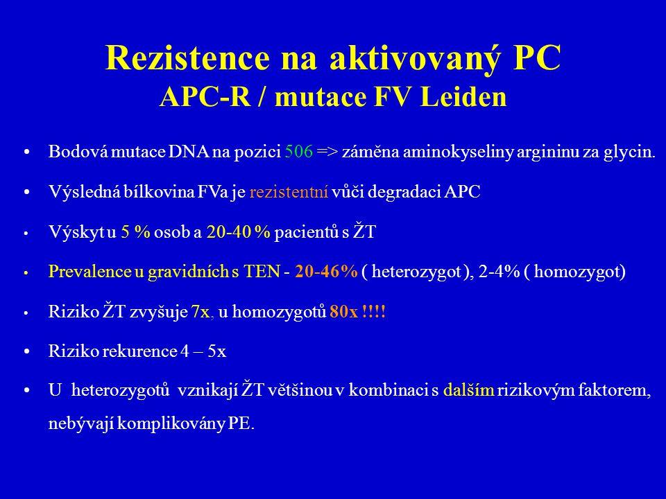 Rezistence na aktivovaný PC APC-R / mutace FV Leiden Bodová mutace DNA na pozici 506 => záměna aminokyseliny argininu za glycin.