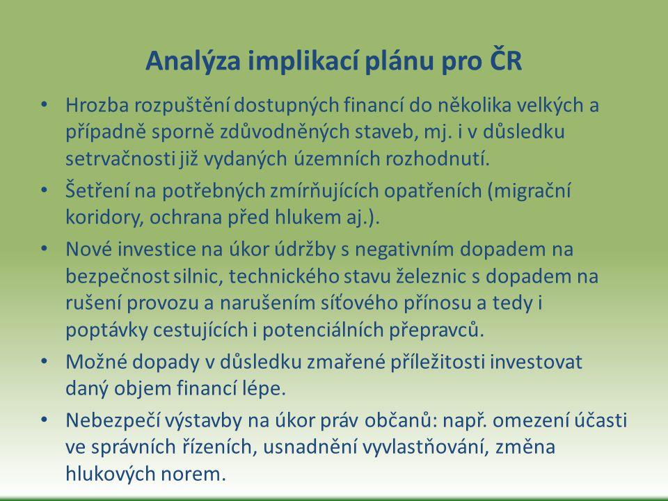 Analýza implikací plánu pro ČR Hrozba rozpuštění dostupných financí do několika velkých a případně sporně zdůvodněných staveb, mj. i v důsledku setrva