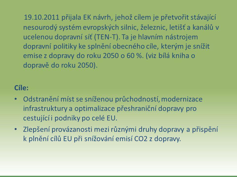 19.10.2011 přijala EK návrh, jehož cílem je přetvořit stávající nesourodý systém evropských silnic, železnic, letišť a kanálů v ucelenou dopravní síť