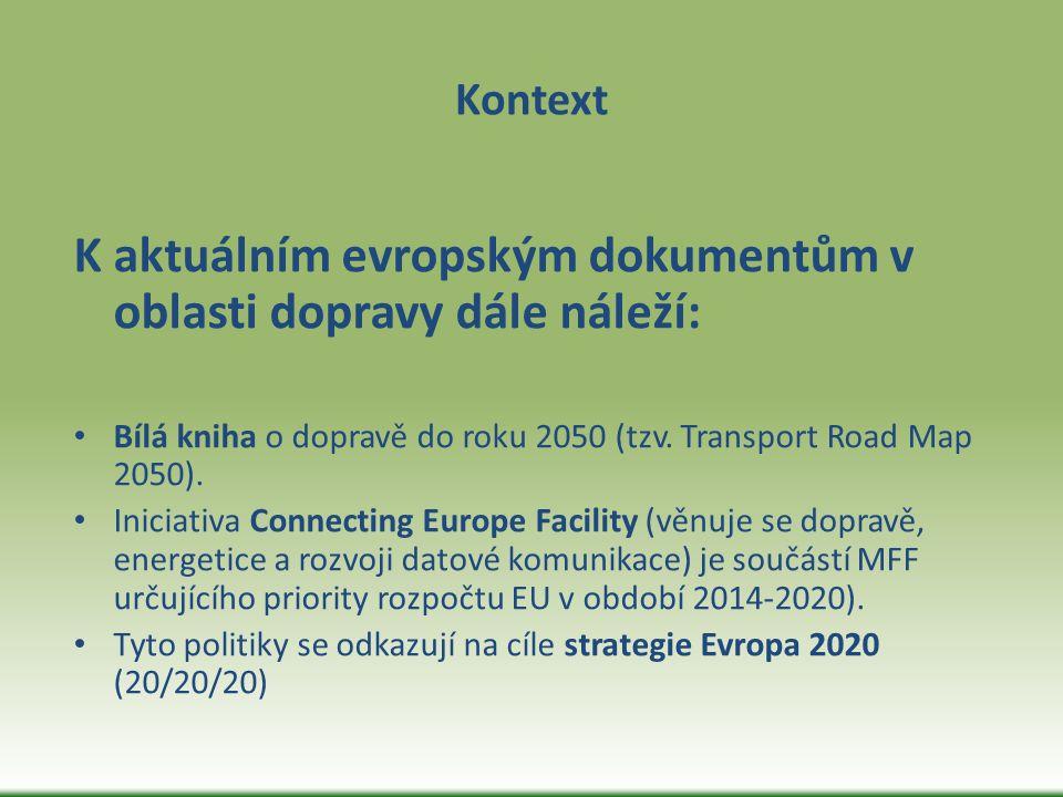 Kontext K aktuálním evropským dokumentům v oblasti dopravy dále náleží: Bílá kniha o dopravě do roku 2050 (tzv. Transport Road Map 2050). Iniciativa C
