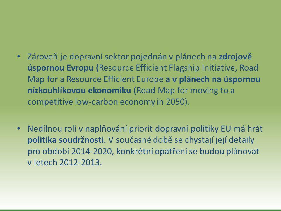 Zároveň je dopravní sektor pojednán v plánech na zdrojově úspornou Evropu (Resource Efficient Flagship Initiative, Road Map for a Resource Efficient E