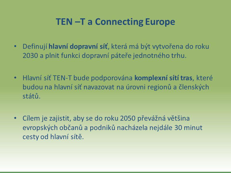 TEN –T a Connecting Europe Definují hlavní dopravní síť, která má být vytvořena do roku 2030 a plnit funkci dopravní páteře jednotného trhu. Hlavní sí