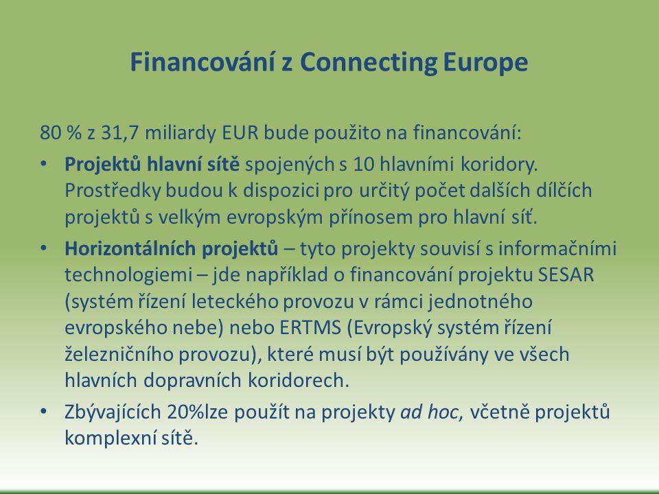 Financování z Connecting Europe 80 % z 31,7 miliardy EUR bude použito na financování: Projektů hlavní sítě spojených s 10 hlavními koridory. Prostředk