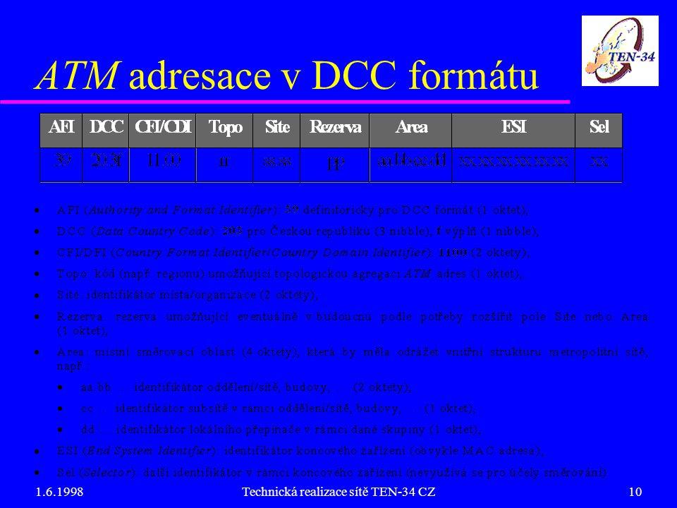 1.6.1998Technická realizace sítě TEN-34 CZ10 ATM adresace v DCC formátu