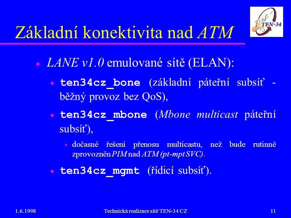 1.6.1998Technická realizace sítě TEN-34 CZ11 Základní konektivita nad ATM  LANE v1.0 emulované sítě (ELAN):  ten34cz_bone (základní páteřní subsíť - běžný provoz bez QoS),  ten34cz_mbone (Mbone multicast páteřní subsíť),  dočasné řešení přenosu multicastu, než bude rutinně zprovozněn PIM nad ATM (pt-mpt SVC).