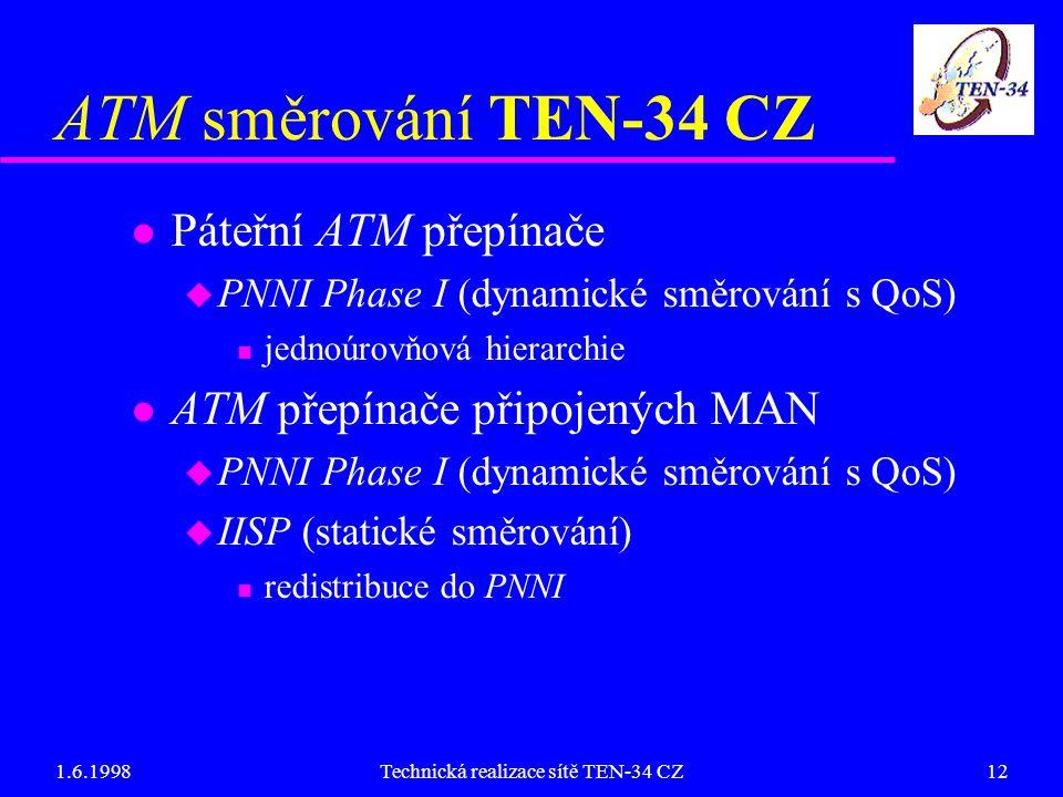 1.6.1998Technická realizace sítě TEN-34 CZ12 ATM směrování TEN-34 CZ l Páteřní ATM přepínače u PNNI Phase I (dynamické směrování s QoS) n jednoúrovňová hierarchie l ATM přepínače připojených MAN u PNNI Phase I (dynamické směrování s QoS) u IISP (statické směrování) n redistribuce do PNNI