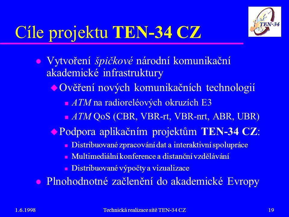1.6.1998Technická realizace sítě TEN-34 CZ19 Cíle projektu TEN-34 CZ l Vytvoření špičkové národní komunikační akademické infrastruktury u Ověření nových komunikačních technologií n ATM na radioreléových okruzích E3 n ATM QoS (CBR, VBR-rt, VBR-nrt, ABR, UBR) u Podpora aplikačním projektům TEN-34 CZ: n Distribuované zpracování dat a interaktivní spolupráce n Multimediální konference a distanční vzdělávání n Distribuované výpočty a vizualizace l Plnohodnotné začlenění do akademické Evropy