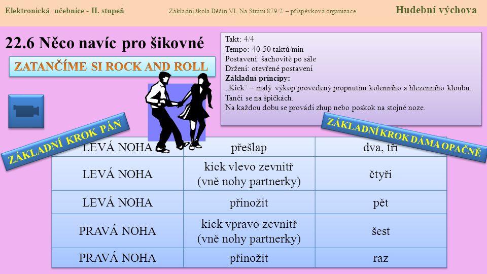 22.6 Něco navíc pro šikovné Elektronická učebnice - II. stupeň Základní škola Děčín VI, Na Stráni 879/2 – příspěvková organizace Hudební výchova Takt: