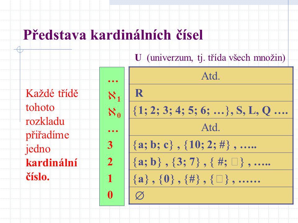 Příklady ekvivalentních množin Následující geometrické útvary jsou ekvivalentní množiny bodů: libovolné dvě úsečky (obecně nestejně dlouhé), libovolné