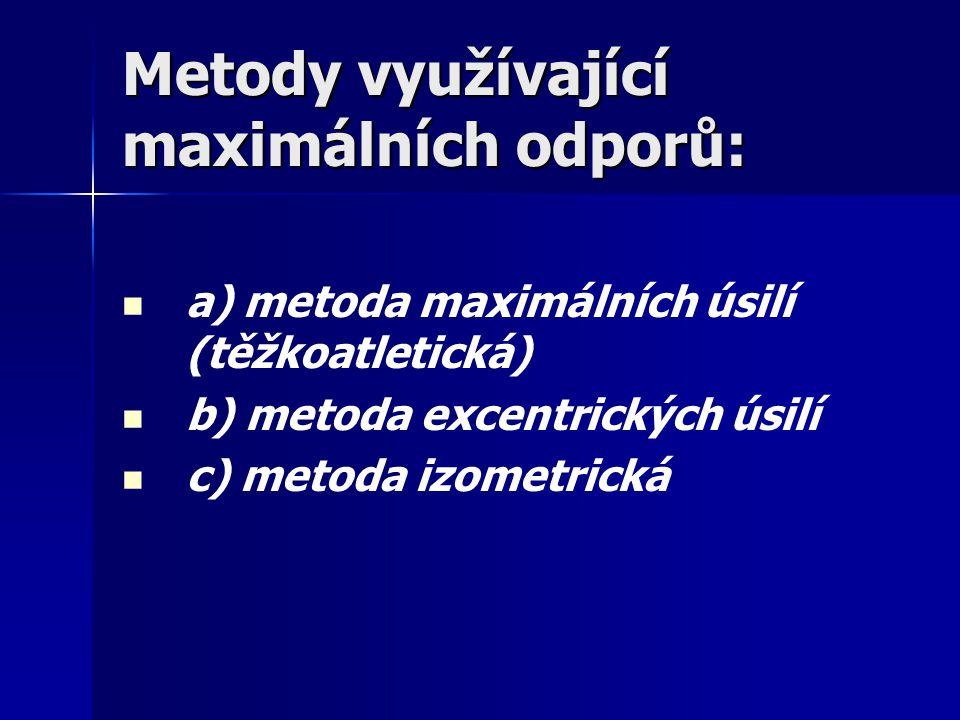 Metody využívající maximálních odporů: a) metoda maximálních úsilí (těžkoatletická) b) metoda excentrických úsilí c) metoda izometrická