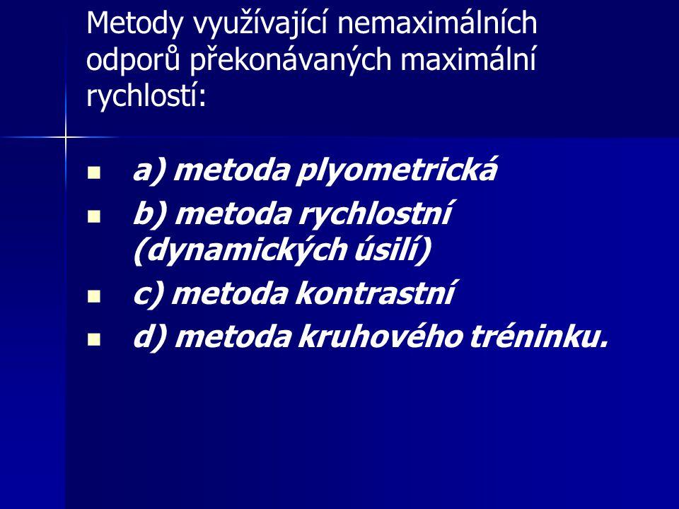 Metody využívající nemaximálních odporů překonávaných maximální rychlostí: a) metoda plyometrická b) metoda rychlostní (dynamických úsilí) c) metoda k