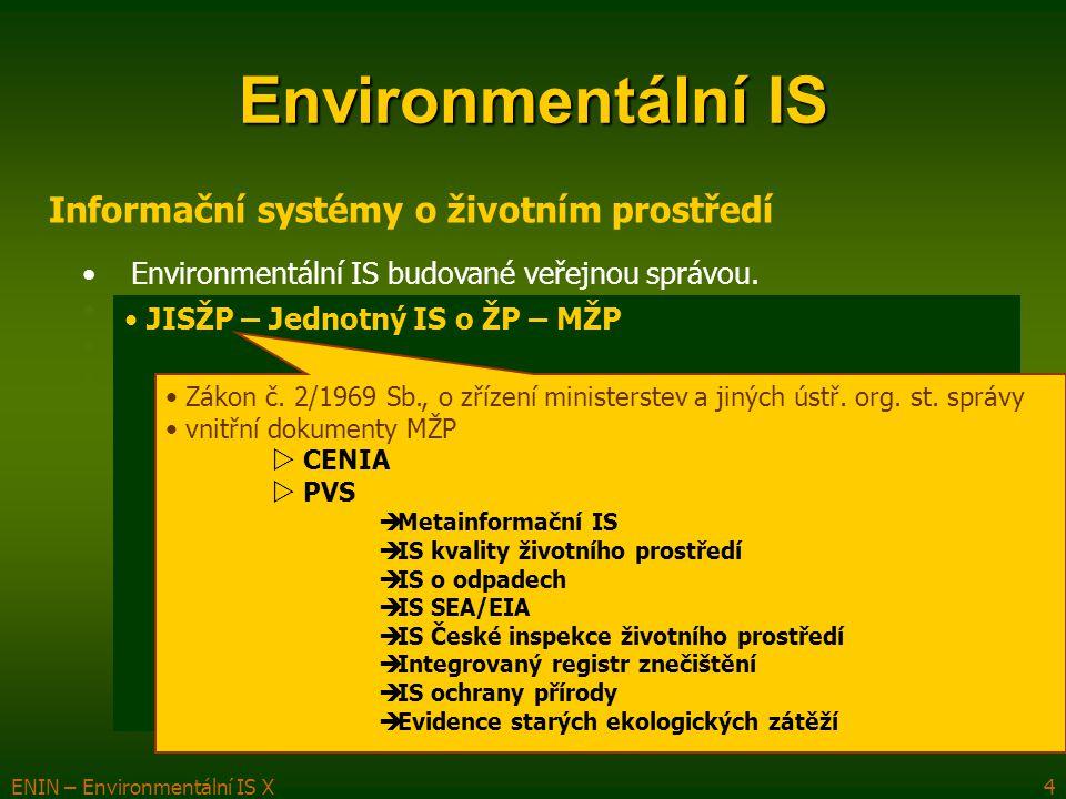 ENIN – Environmentální IS X5 Environmentální IS Informační systémy o životním prostředí Environmentální IS budované veřejnou správou.