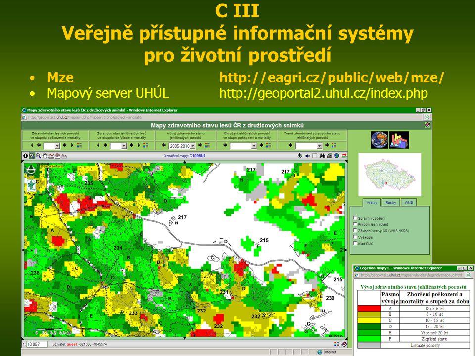ENIN - C III Další zdroje pro popis zájmového území14 C III Veřejně přístupné informační systémy pro životní prostředí Mzehttp://eagri.cz/public/web/mze/ Mapový server UHÚLhttp://geoportal2.uhul.cz/index.php