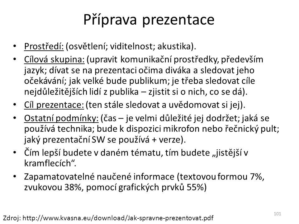 Příprava prezentace Prostředí: (osvětlení; viditelnost; akustika). Cílová skupina: (upravit komunikační prostředky, především jazyk; dívat se na preze