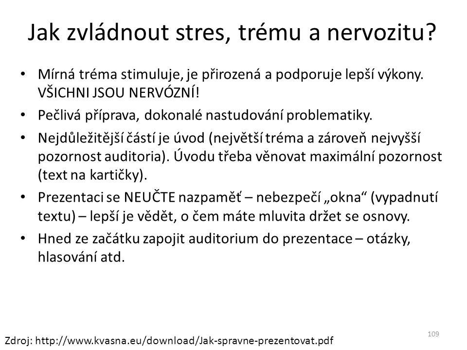 Jak zvládnout stres, trému a nervozitu? Mírná tréma stimuluje, je přirozená a podporuje lepší výkony. VŠICHNI JSOU NERVÓZNÍ! Pečlivá příprava, dokonal