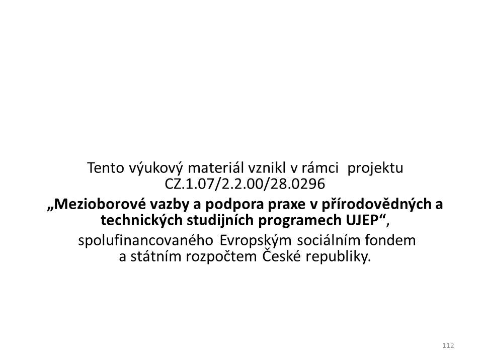 """Tento výukový materiál vznikl v rámci projektu CZ.1.07/2.2.00/28.0296 """"Mezioborové vazby a podpora praxe v přírodovědných a technických studijních pro"""