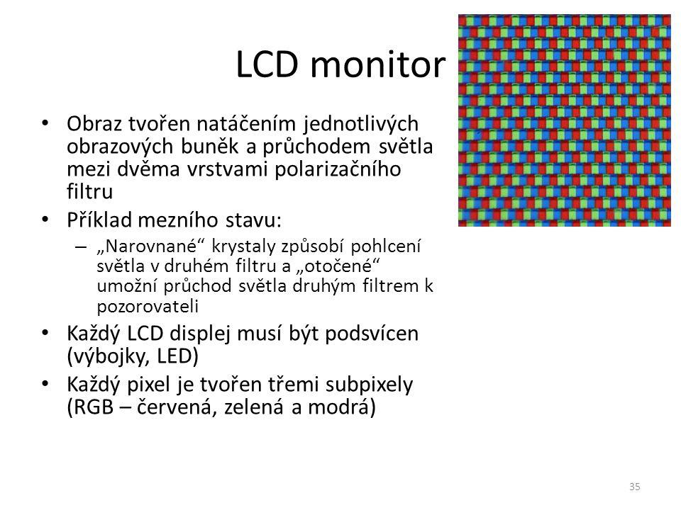"""Obraz tvořen natáčením jednotlivých obrazových buněk a průchodem světla mezi dvěma vrstvami polarizačního filtru Příklad mezního stavu: – """"Narovnané"""""""