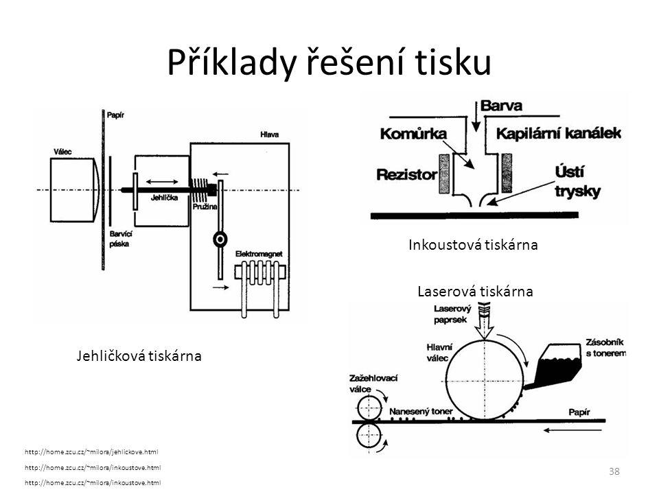 38 Příklady řešení tisku http://home.zcu.cz/~milora/jehlickove.html Inkoustová tiskárna Jehličková tiskárna http://home.zcu.cz/~milora/inkoustove.html