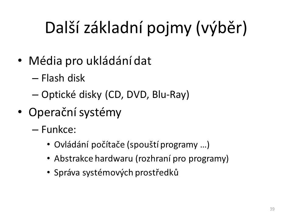 Média pro ukládání dat – Flash disk – Optické disky (CD, DVD, Blu-Ray) Operační systémy – Funkce: Ovládání počítače (spouští programy …) Abstrakce har