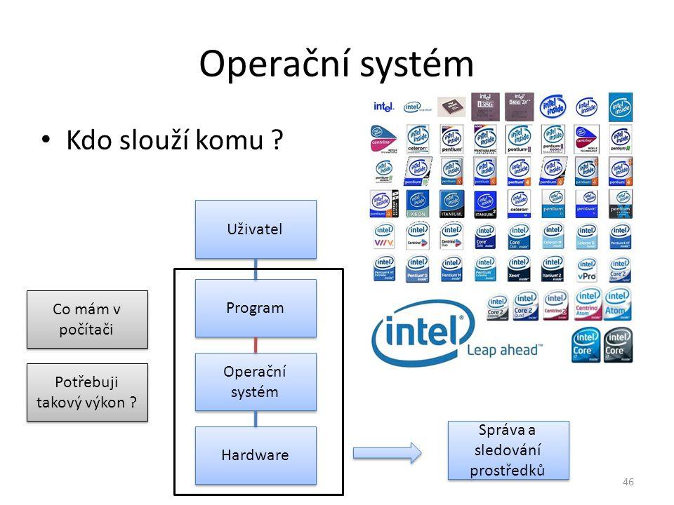 Operační systém Kdo slouží komu ? Uživatel Program Operační systém Hardware Co mám v počítači Potřebuji takový výkon ? Správa a sledování prostředků 4