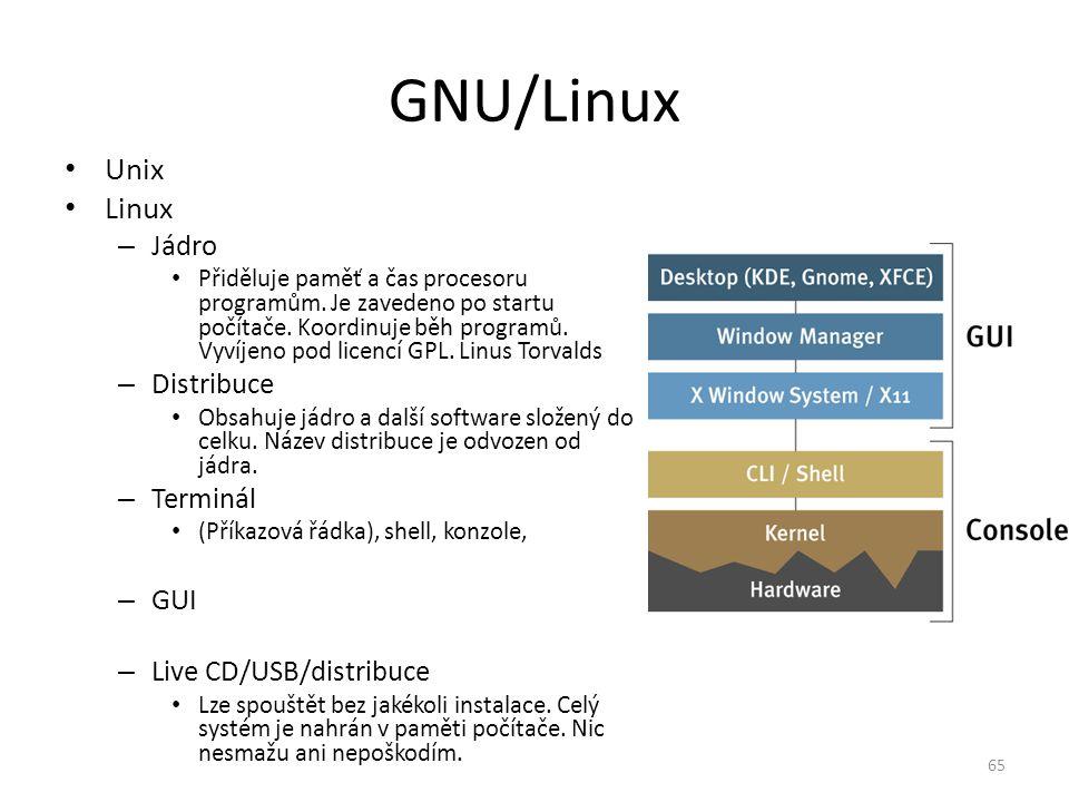 GNU/Linux Unix Linux – Jádro Přiděluje paměť a čas procesoru programům. Je zavedeno po startu počítače. Koordinuje běh programů. Vyvíjeno pod licencí