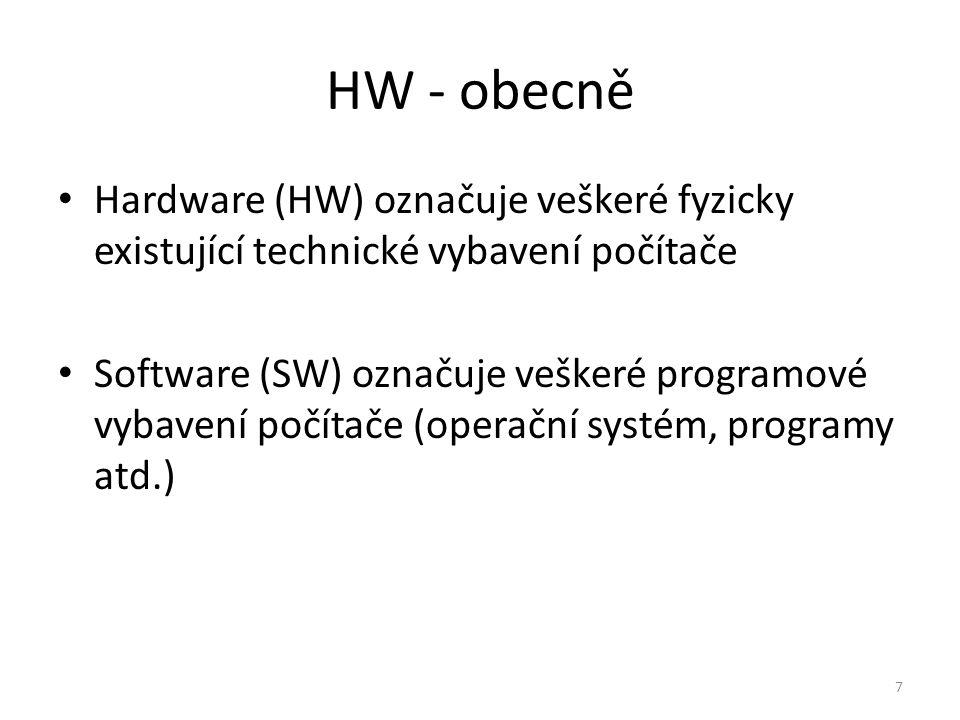 Hardware (HW) označuje veškeré fyzicky existující technické vybavení počítače Software (SW) označuje veškeré programové vybavení počítače (operační sy