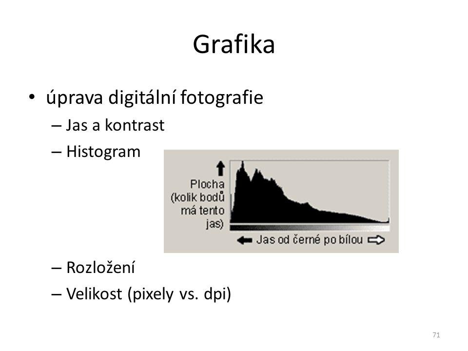 Grafika úprava digitální fotografie – Jas a kontrast – Histogram – Rozložení – Velikost (pixely vs. dpi) 71