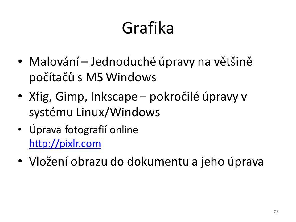 Grafika Malování – Jednoduché úpravy na většině počítačů s MS Windows Xfig, Gimp, Inkscape – pokročilé úpravy v systému Linux/Windows Úprava fotografi