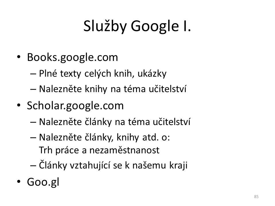 Books.google.com – Plné texty celých knih, ukázky – Nalezněte knihy na téma učitelství Scholar.google.com – Nalezněte články na téma učitelství – Nale