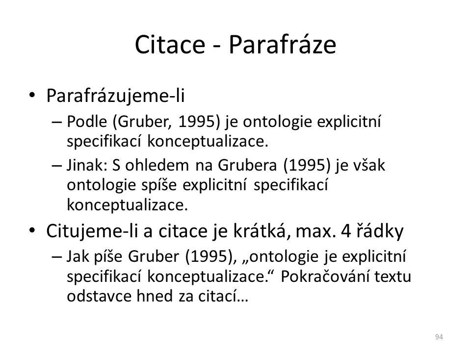 Parafrázujeme-li – Podle (Gruber, 1995) je ontologie explicitní specifikací konceptualizace. – Jinak: S ohledem na Grubera (1995) je však ontologie sp
