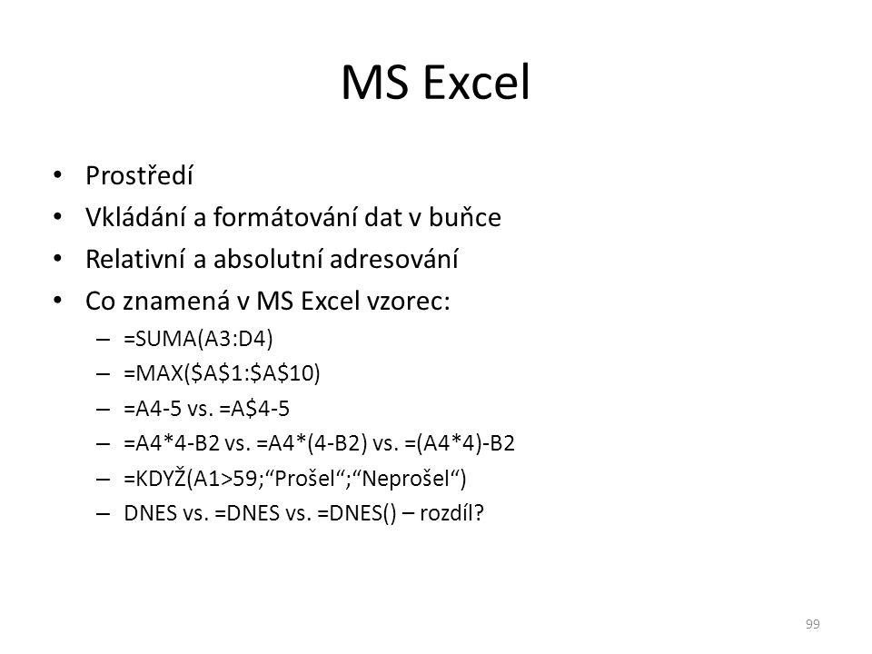 Prostředí Vkládání a formátování dat v buňce Relativní a absolutní adresování Co znamená v MS Excel vzorec: – =SUMA(A3:D4) – =MAX($A$1:$A$10) – =A4-5
