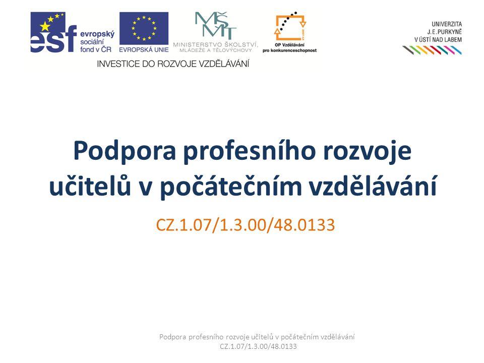 Podpora profesního rozvoje učitelů v počátečním vzdělávání CZ.1.07/1.3.00/48.0133 Podpora profesního rozvoje učitelů v počátečním vzdělávání CZ.1.07/1.3.00/48.0133