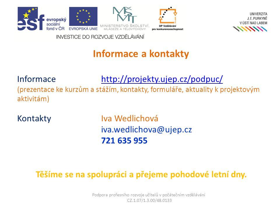 Informace http://projekty.ujep.cz/podpuc/ (prezentace ke kurzům a stážím, kontakty, formuláře, aktuality k projektovým aktivitám) KontaktyIva Wedlichová iva.wedlichova@ujep.cz 721 635 955 Těšíme se na spolupráci a přejeme pohodové letní dny.http://projekty.ujep.cz/podpuc/ Podpora profesního rozvoje učitelů v počátečním vzdělávání CZ.1.07/1.3.00/48.0133 Informace a kontakty
