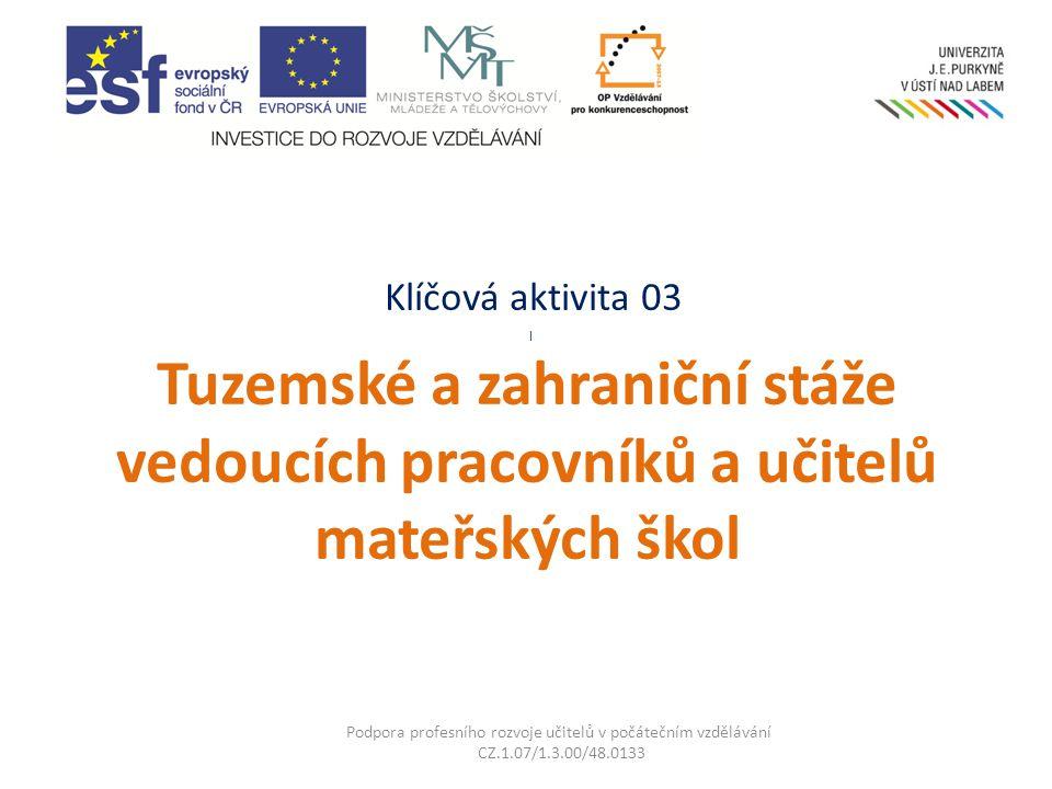 Klíčová aktivita 03 l Tuzemské a zahraniční stáže vedoucích pracovníků a učitelů mateřských škol Podpora profesního rozvoje učitelů v počátečním vzděl