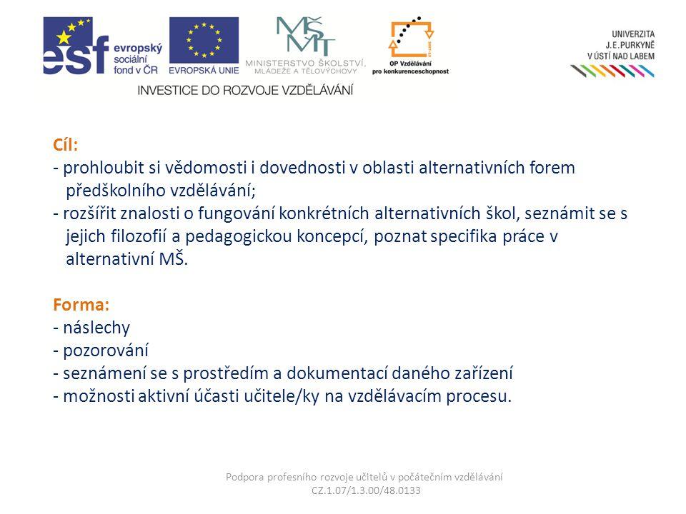 Cíl: - prohloubit si vědomosti i dovednosti v oblasti alternativních forem předškolního vzdělávání; - rozšířit znalosti o fungování konkrétních altern
