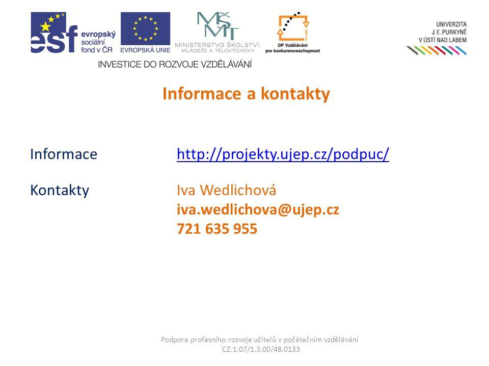Informace http://projekty.ujep.cz/podpuc/ KontaktyIva Wedlichová iva.wedlichova@ujep.cz 721 635 955 http://projekty.ujep.cz/podpuc/ Podpora profesního