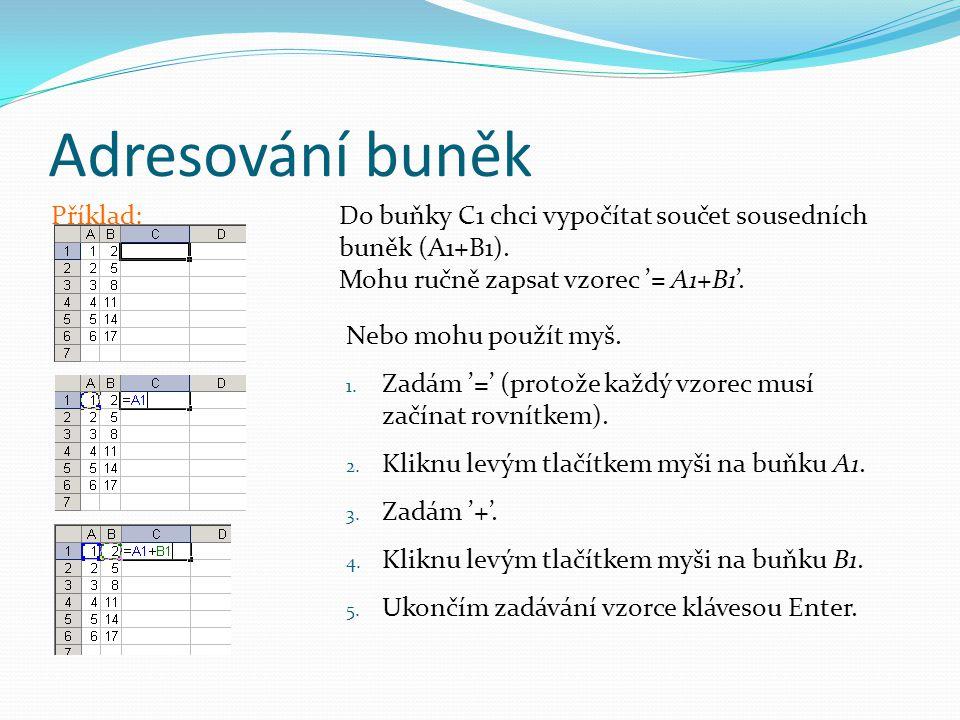 Adresování buněk Příklad: Do buňky C1 chci vypočítat součet sousedních buněk (A1+B1).