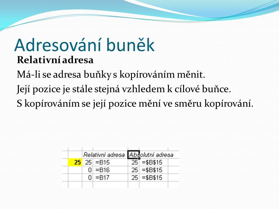 Adresování buněk Relativní adresa Má-li se adresa buňky s kopírováním měnit.