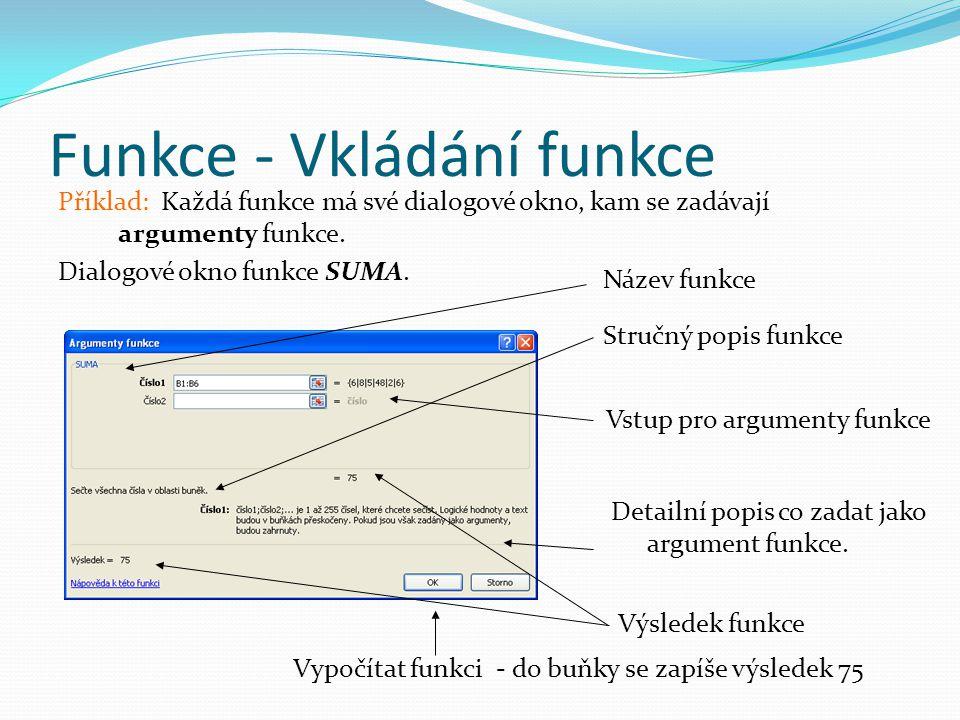 Funkce - Vkládání funkce Příklad: Každá funkce má své dialogové okno, kam se zadávají argumenty funkce.