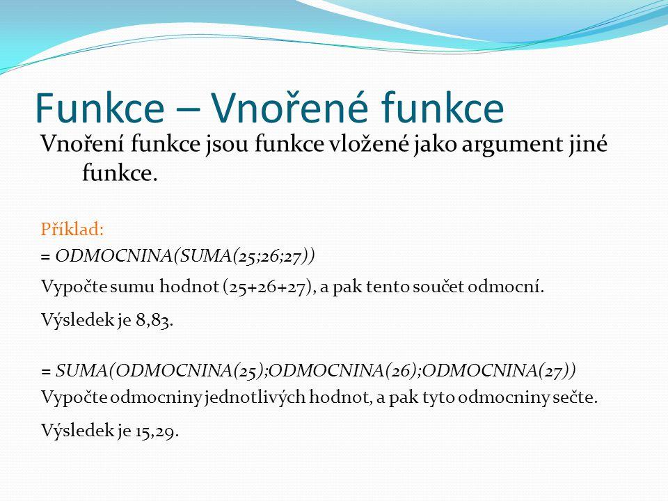 Funkce – Vnořené funkce Vnoření funkce jsou funkce vložené jako argument jiné funkce.