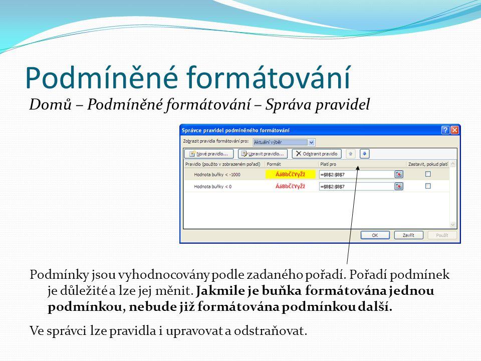 Podmíněné formátování Domů – Podmíněné formátování – Správa pravidel Podmínky jsou vyhodnocovány podle zadaného pořadí.